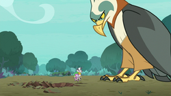 Spike and Zecora approach a giant roc S8E11