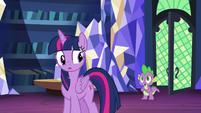 Spike approaching Twilight Sparkle S8E24