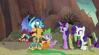 Spike introduces ponies as his friends S6E5