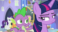 Spike reassuring Twilight Sparkle S9E25