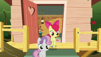 Sweetie and Apple Bloom follow Scootaloo to the castle S6E19