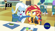 Trixie and Sunset in cafeteria