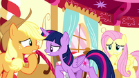 Twilight, AJ, and Fluttershy getting very worried S8E18