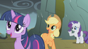 Twilight, AJ, and Rarity rained on by dragon tears S1E07