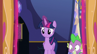 Twilight and Spike answer the castle door S6E15