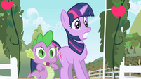 Twilight and Spike hear Applejack for the first time S01E01