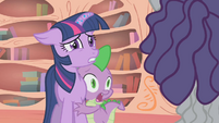 Twilight and Spike shocked at Hairity's appearance S1E09