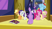 Twilight looking at her miserable friends S7E14