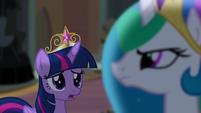 Twilight noticing Celestia's stern expression S4E2