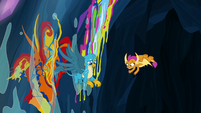 Wet paint running down the cave walls S9E3