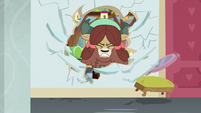 Yona bursts through a classroom wall S8E15