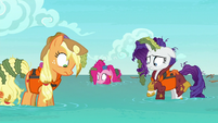 AJ, Pinkie, and Rarity in knee-high water S6E22