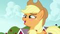Applejack blushes, flattered by Apple Bloom's compliment S5E17.png