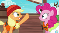Applejack gesturing toward the boat S6E22.png