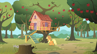 Applejack heading towards the CMC's club house S1E18