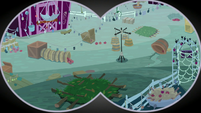 Binocular view of the farm traps S9E10