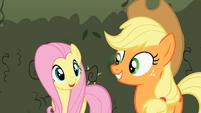 Fluttershy and Applejack smiles S2E01