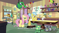 Fluttershy and Dr. Fauna in animal-crowded clinic S7E5.png