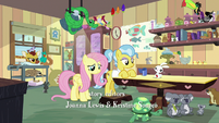 Fluttershy and Dr. Fauna in animal-crowded clinic S7E5