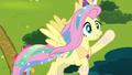 Fluttershy dressed as Princess Celestia S4E21.png