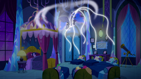 Luna's magic threads float down to the Mane Six S5E13