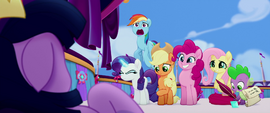 Main five in varying states of awkwardness MLPTM
