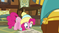 Pinkie Pie looking at Rutherford's map MLPBGE