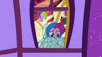 Pinkie Pie wrapped in her bed covers S8E18