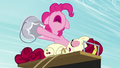 Pinkie hits the bucket to wake up Cherry S5E11.png
