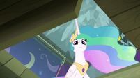 Princess Celestia looks into the trapdoor S8E7