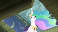 Princess Celestia looks into the trapdoor S8E7