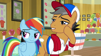 Rainbow and Quibble look over at Clear Sky S9E6
