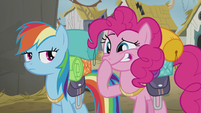 Rainbow looks at Pinkie laughing S5E8