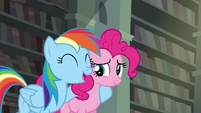 Rainbow with hoof around Pinkie S4E25