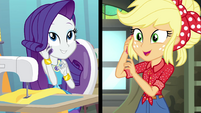 Rarity and Applejack talk on the phone EGROF