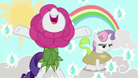 Rarity and Sweetie Belle dressed as flower and flowerbud S7E6