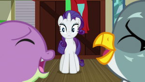 Rarity watching Spike and Gabby laugh together S9E19