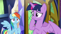 Twilight Sparkle in deep thought S9E1