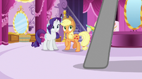 Applejack and Rarity hear Photo Finish arrive S7E9