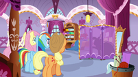 Fluttershy, Rainbow, and AJ watch Rarity change S7E19