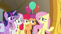 Fluttershy grinning with embarrassment S9E22