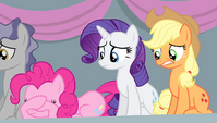 Pinkie, Rarity, and Applejack worried S4E24