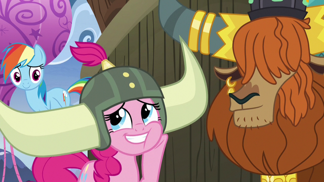 File:Pinkie Pie admiring her honorary yak horns S7E11.png