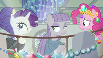 Pinkie frustrated; Rarity rolls her eyes S6E3