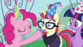 Pinkie sticks a party horn in Moon Dancer's mouth S5E12.png