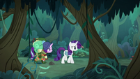 Rarity and Starlight walking through the forest S8E13