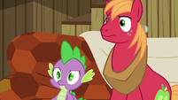 Spike and Big Mac stare blankly at Discord S6E17