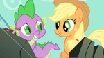 Spike embarrassed for accidentally trying to kiss Applejack S1E19