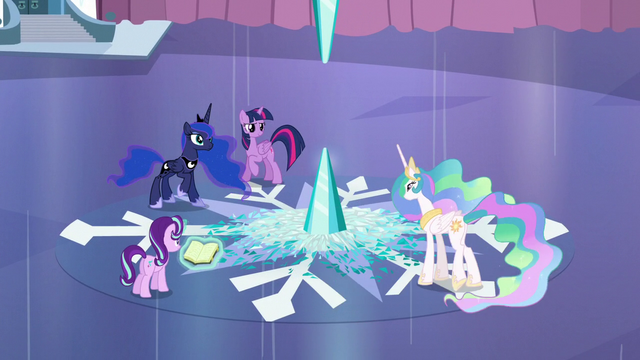 File:Twilight, Celestia, Luna, and Starlight ready S6E2.png