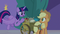 Twilight asks Applejack what is going on S9E17